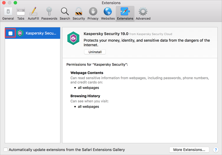 Disabling Kaspersky Security 19 in Safari