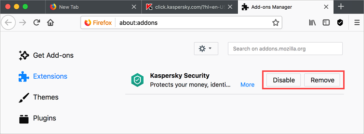 Disabling Kaspersky Security 19 in Mozilla Firefox