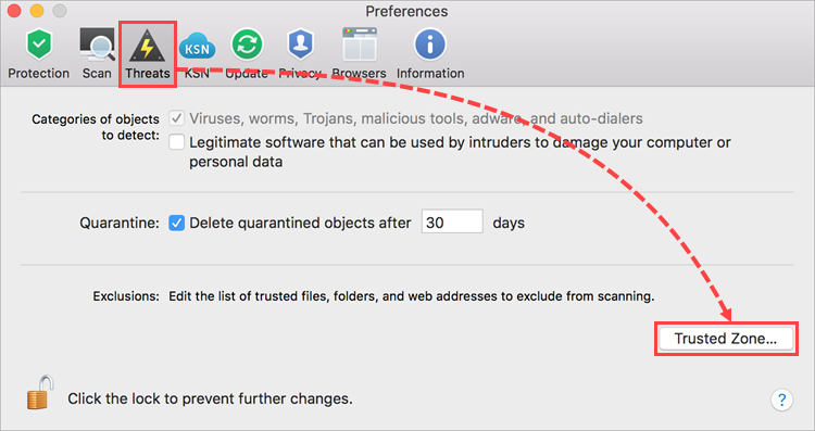 Privacy preferences in Kaspersky Internet Security for Mac
