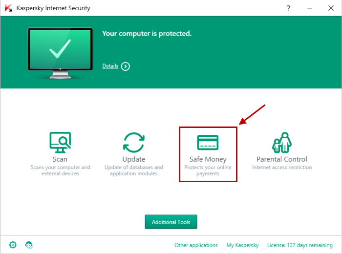 In the Kaspersky Internet Security window, click on the Safe Money switch.