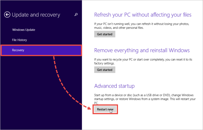 Image: in the right part of the Update and Recovery window, select Recovery