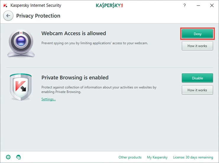 Image: Privacy Protection component of Kaspersky Internet Security 2018