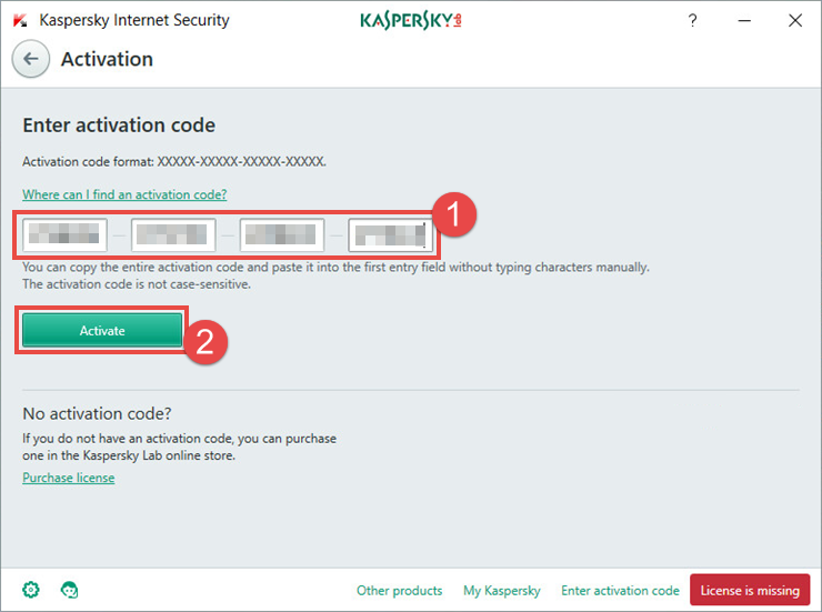 Image: the activation window of Kaspersky Internet Security 2018