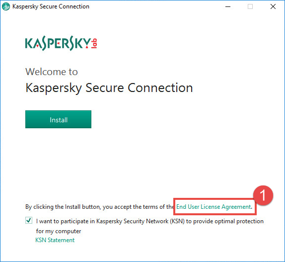 Image: the Kaspersky Secure Connection installation window