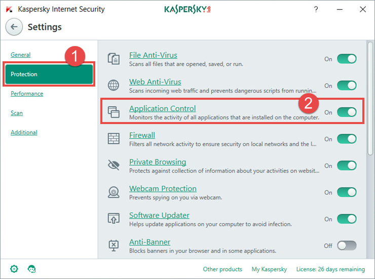Image: the Settings window of Kaspersky Internet Security 2018