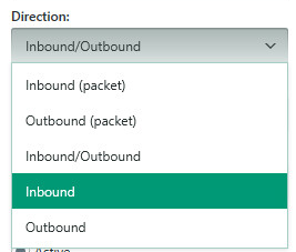 Image: Select the direction for the packet rule in Kaspersky Internet Security 2018