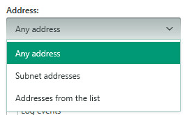 Image: setting the network address for the packet rule in Kaspersky Total Security 2018