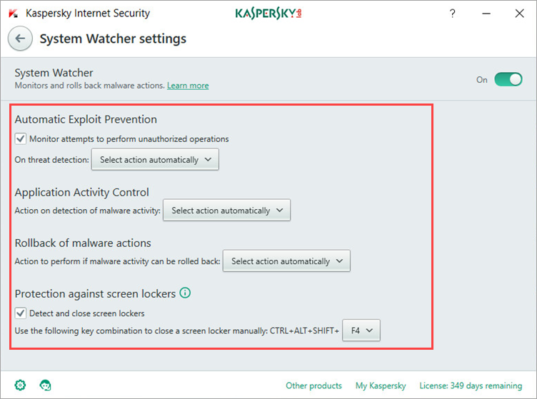 Image: the System Watcher settings window in Kaspersky Internet Security