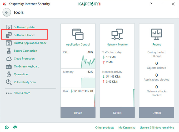 Image: Kaspersky Internet Security Tools window
