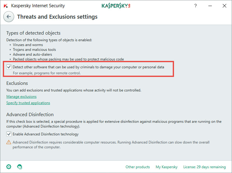 Image: Threats and Exclusions window in Kaspersky Internet Security 2018