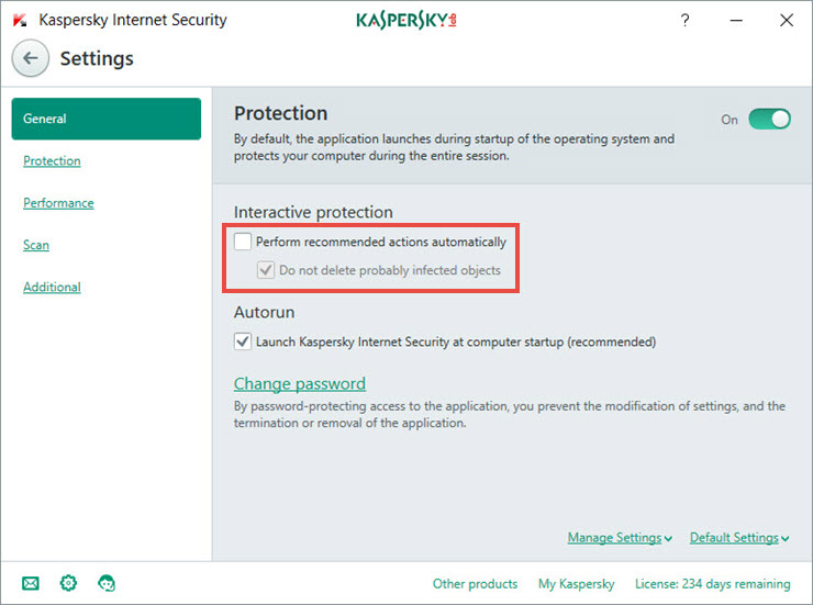 Disable the automatic protection mode in Kaspersky Internet Security 2018