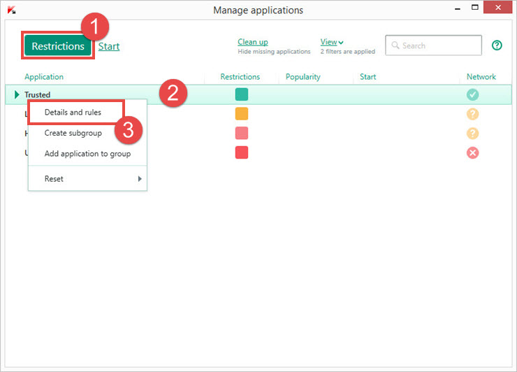 Image: the application management window in Kaspersky Total Security 2018