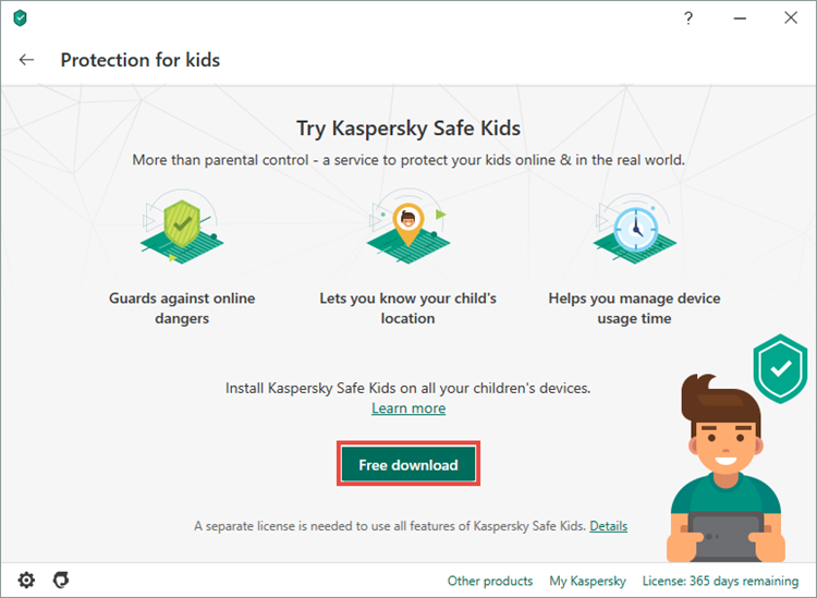 Downloading Kaspersky Safe Kids through he interface of of Kaspersky Internet Security 20