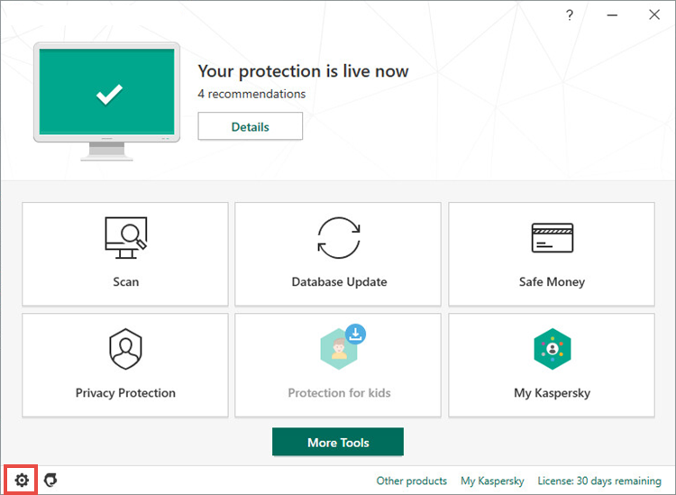 Opening the Settings window of Kaspersky Internet Security 20
