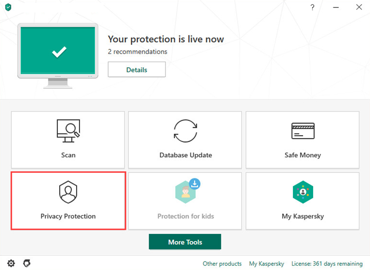 Opening the Privacy Protection section in Kaspersky Internet Security 20