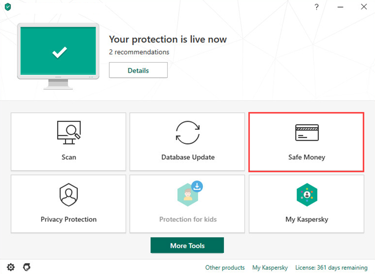 Opening the Safe Money window of Kaspersky Internet Security 20