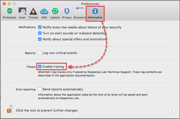 Enabling traces in Kaspersky Internet Security 20 for Mac