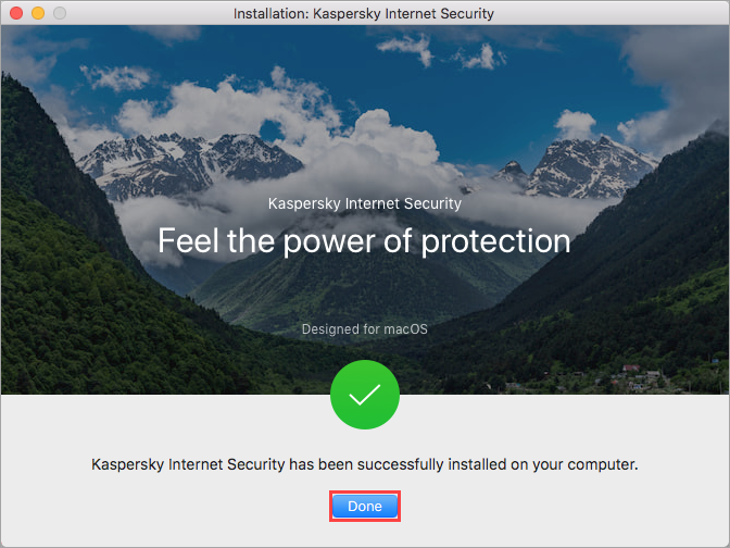 Completing installation of Kaspersky Internet Security 20 for Mac