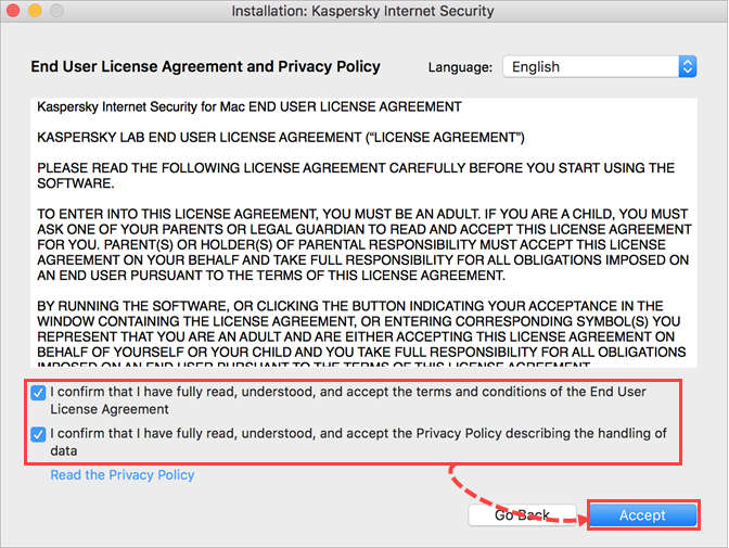 Accepting the EULA before installing Kaspersky Internet Security 20 for Mac