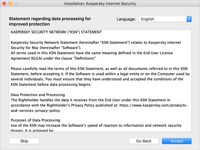 Accepting the KSN Statement before installing Kaspersky Internet Security 20 for Mac