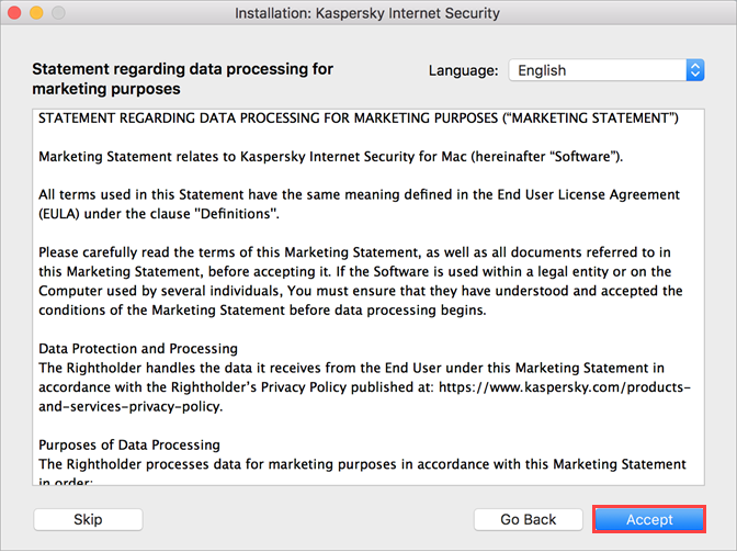 Accepting the Marketing Statement when installing Kaspersky Internet Security 20 for Mac
