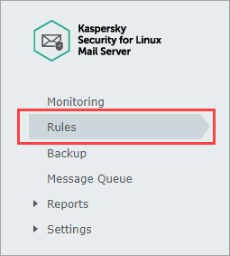 Opening the Rules section in Kaspersky Security 8.0 for Linux Mail Server
