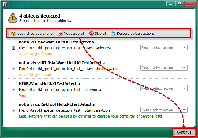 Selecting an action to be taken on all detected objects in Kaspersky Rescue Disk 2018