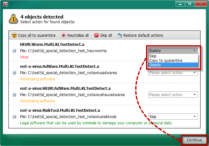 Selecting an action for an individual detected object in Kaspersky Rescue Disk 2018