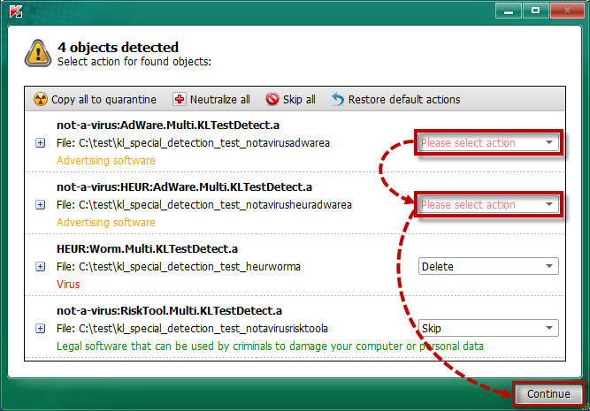 Selecting an action for an unneutralized threat in Kaspersky Rescue Disk 2018
