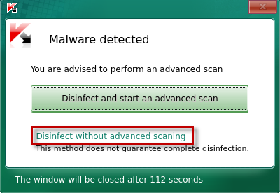 Selecting how to disinfect an active infection in Kaspersky Rescue Disk 2018
