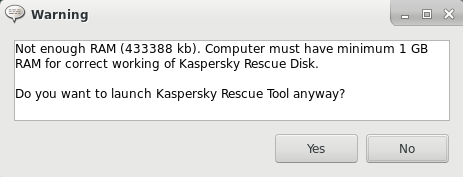 Warning in Kaspersky Rescue Disk 2018 about insufficient RAM