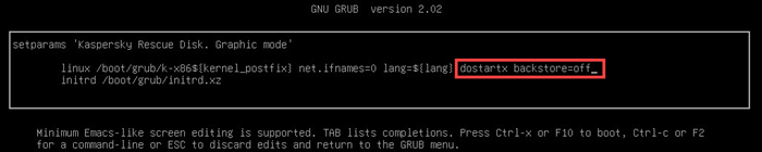 Configuring parameters in GRUB loader in Kaspersky Rescue Disk 18