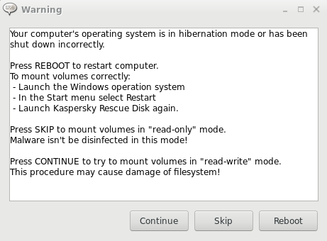 Error mounting volumes in Kaspersky Rescue Disk 2018