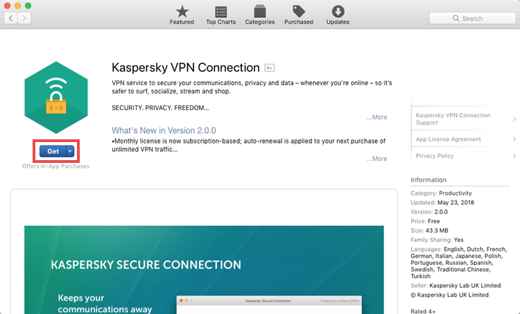 Installing Kaspersky Secure Connection for Mac