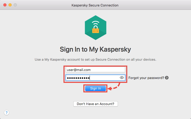 Connecting Kaspersky Secure Connection for Mac to My Kaspersky account