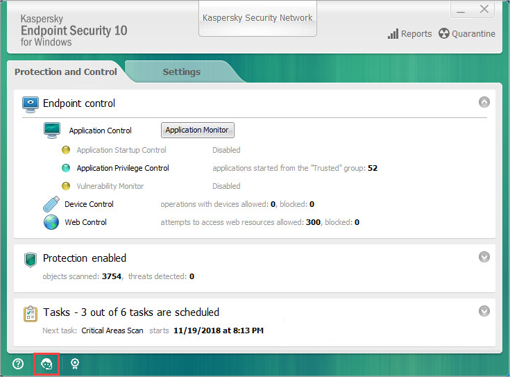 Opening the support window in Kaspersky Endpoint Security 10 for Windows