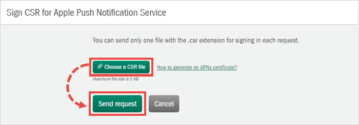 Selecting a CSR file and sending a request