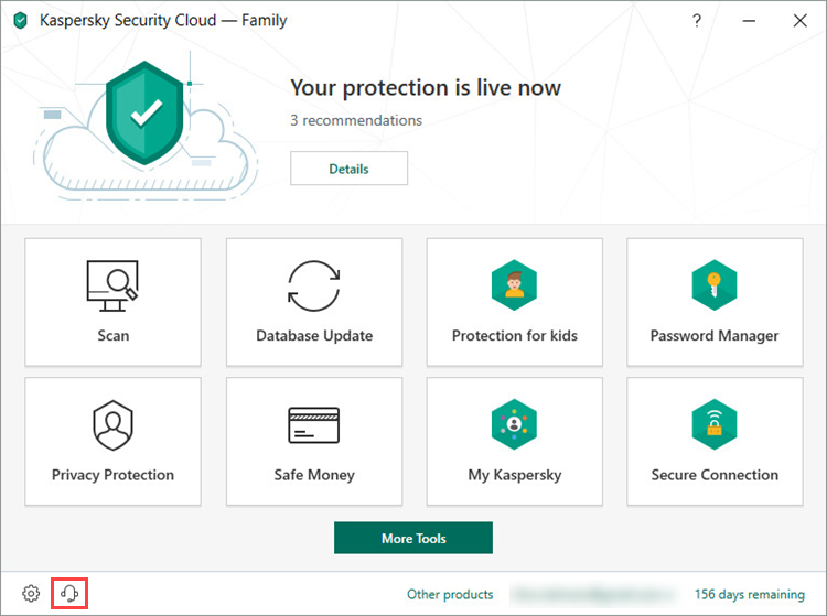 Opening the Support window of Kaspersky Security Cloud 19