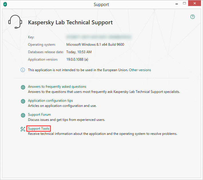 Opening the Support Tools window of Kaspersky Security Cloud 19