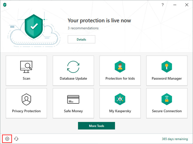 Opening the settings in Kaspersky Security Cloud 19