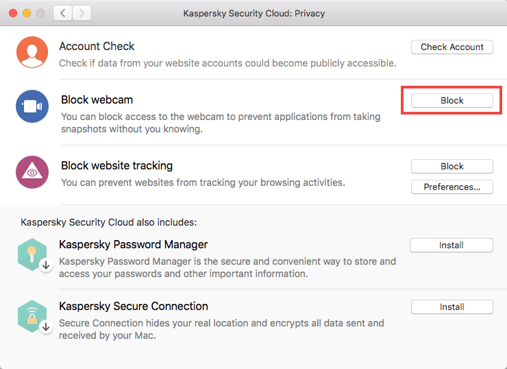 Blocking a webcam in Kaspersky Security Cloud 19 for Mac