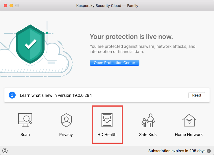 The HD Health feature in Kaspersky Security Cloud for Mac