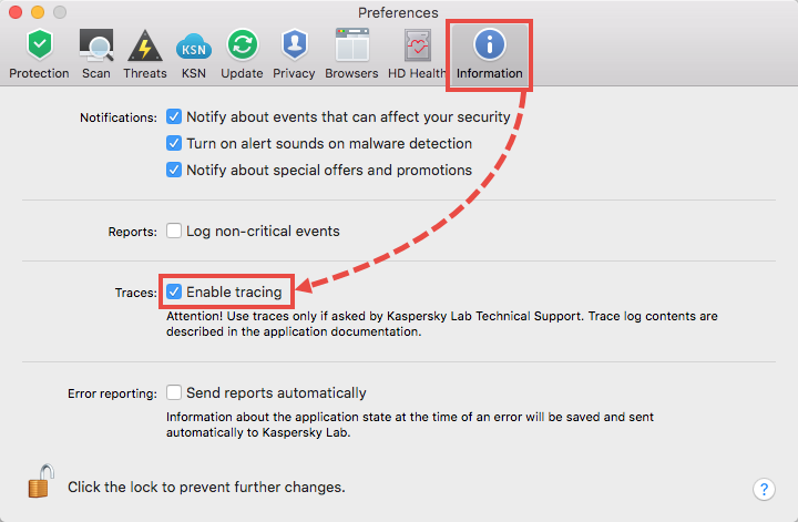 Enabling traces in Kaspersky Internet Security 19 for Mac