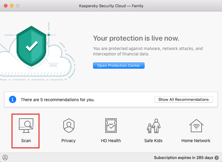 Opening a scan window in Kaspersky Security Cloud 19 for Mac