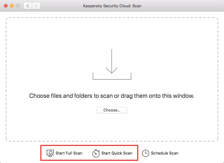 Starting a scan in Kaspersky Security Cloud for Mac