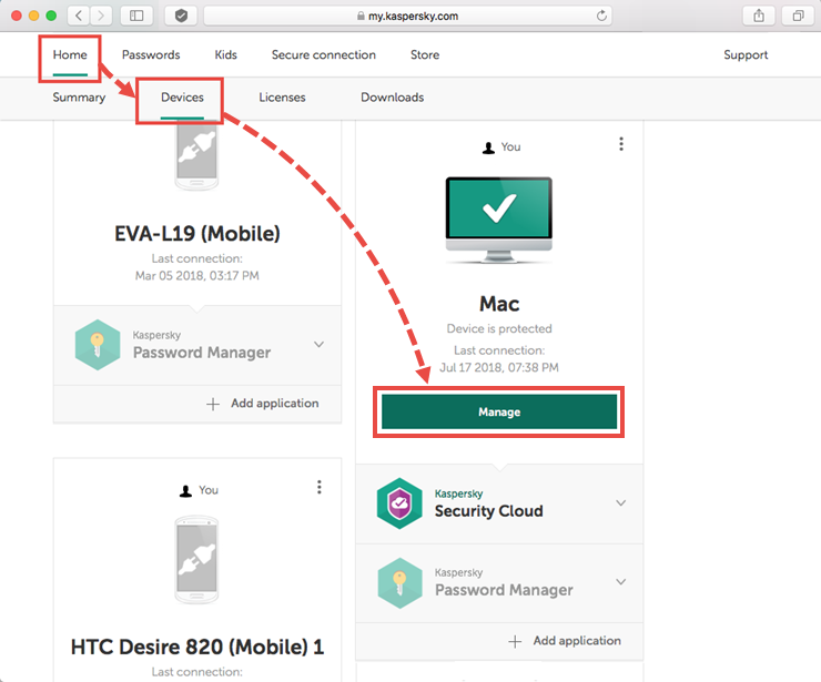 Opening the device for management in My Kaspersky