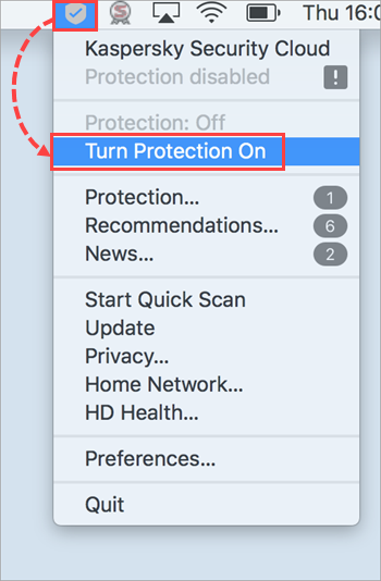 Enabling protection in Kaspersky Security Cloud 19 for Mac from the shortcut menu