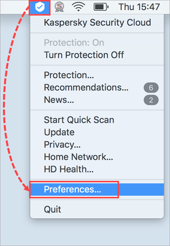 Opening the Preferences window of Kaspersky Security Cloud 19 for Mac