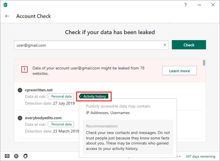 Account Check in Kaspersky Security Cloud 20