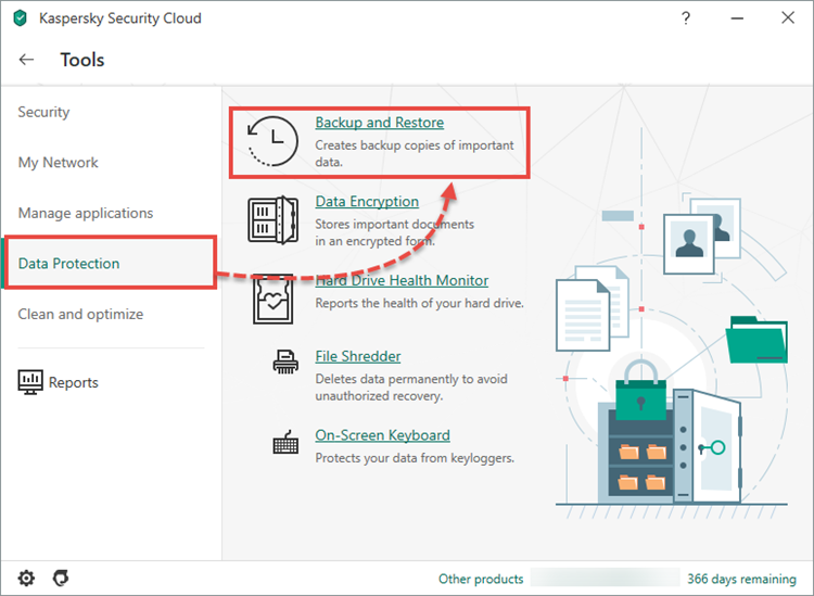 Opening the Backup and Restore window in Kaspersky Security Cloud 20